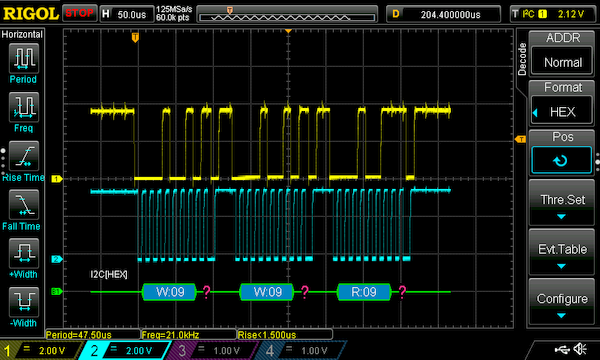 Example scope output when I screwed up the watch's Real Time Clock